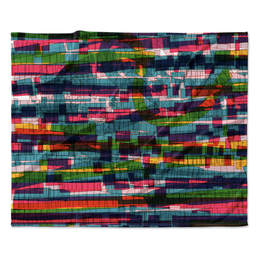 "Frederic Levy-Hadida ""Squares Traffic Pastel"" Fleece Throw Blanket"