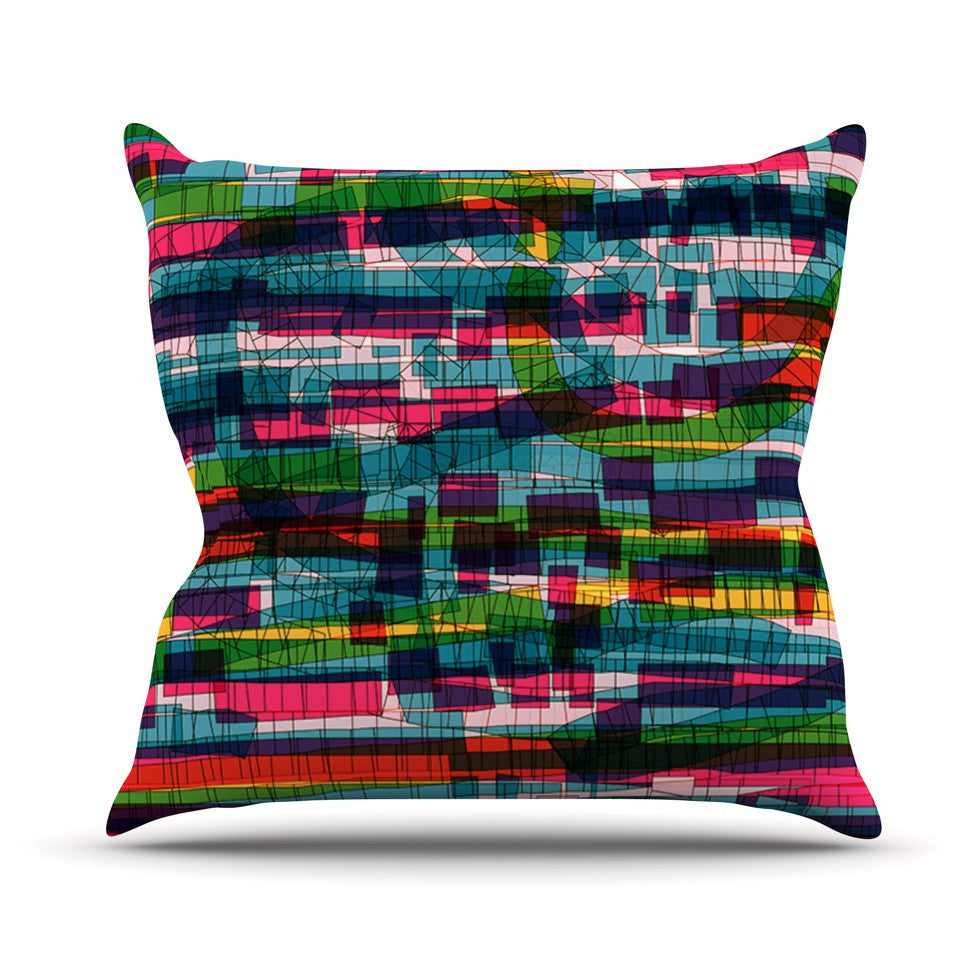"Frederic Levy-Hadida ""Squares Traffic Pastel"" Outdoor Throw Pillow - KESS InHouse  - 1"