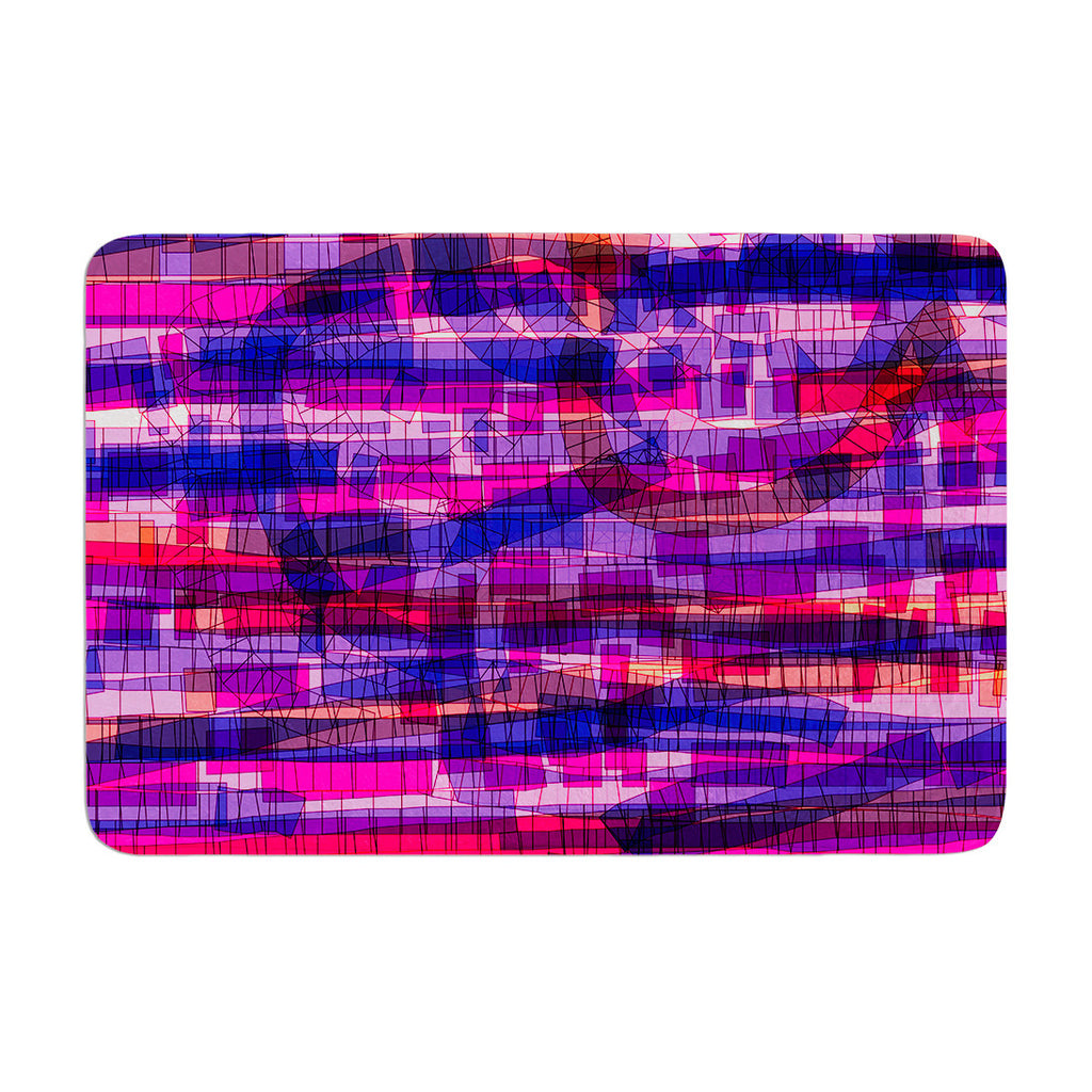 "Frederic Levy-Hadida ""Squares Traffic Pink"" Memory Foam Bath Mat - KESS InHouse"