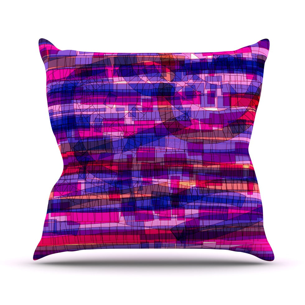 "Frederic Levy-Hadida ""Squares Traffic Pink"" Throw Pillow - KESS InHouse  - 1"