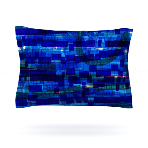 "Frederic Levy-Hadida ""Squares Traffic Blue"" Pillow Sham - Outlet Item"