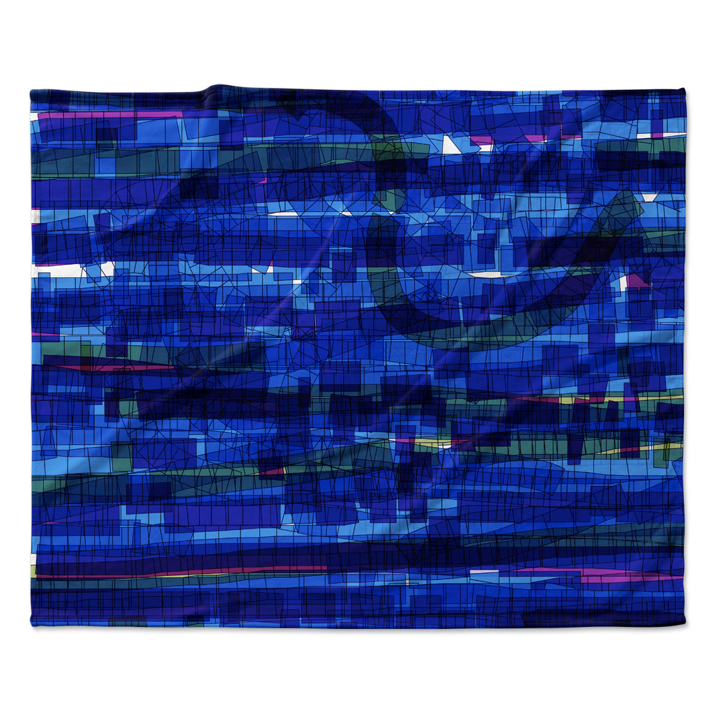 "Frederic Levy-Hadida ""Squares Traffic Blue"" Fleece Throw Blanket"