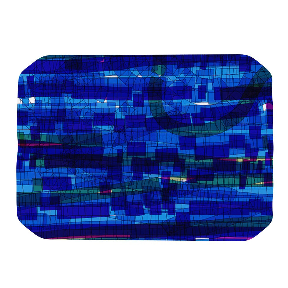 "Frederic Levy-Hadida ""Squares Traffic Blue"" Place Mat - KESS InHouse"