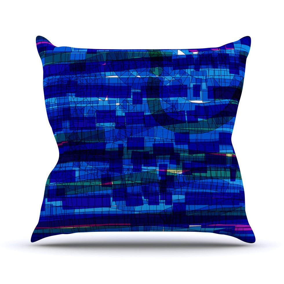"Frederic Levy-Hadida ""Squares Traffic Blue"" Outdoor Throw Pillow - KESS InHouse  - 1"