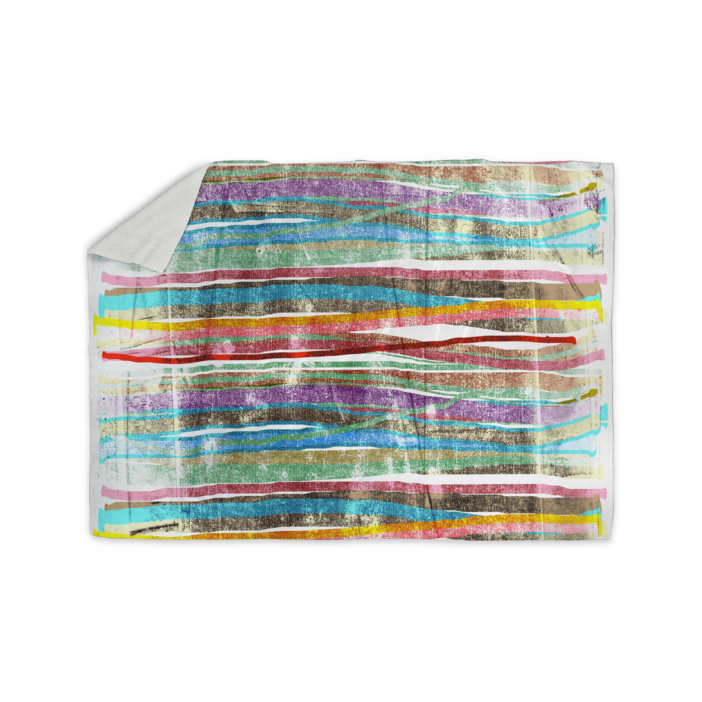 "Frederic Levy-Hadida ""Fancy Stripes Light"" Sherpa Blanket - KESS InHouse  - 1"