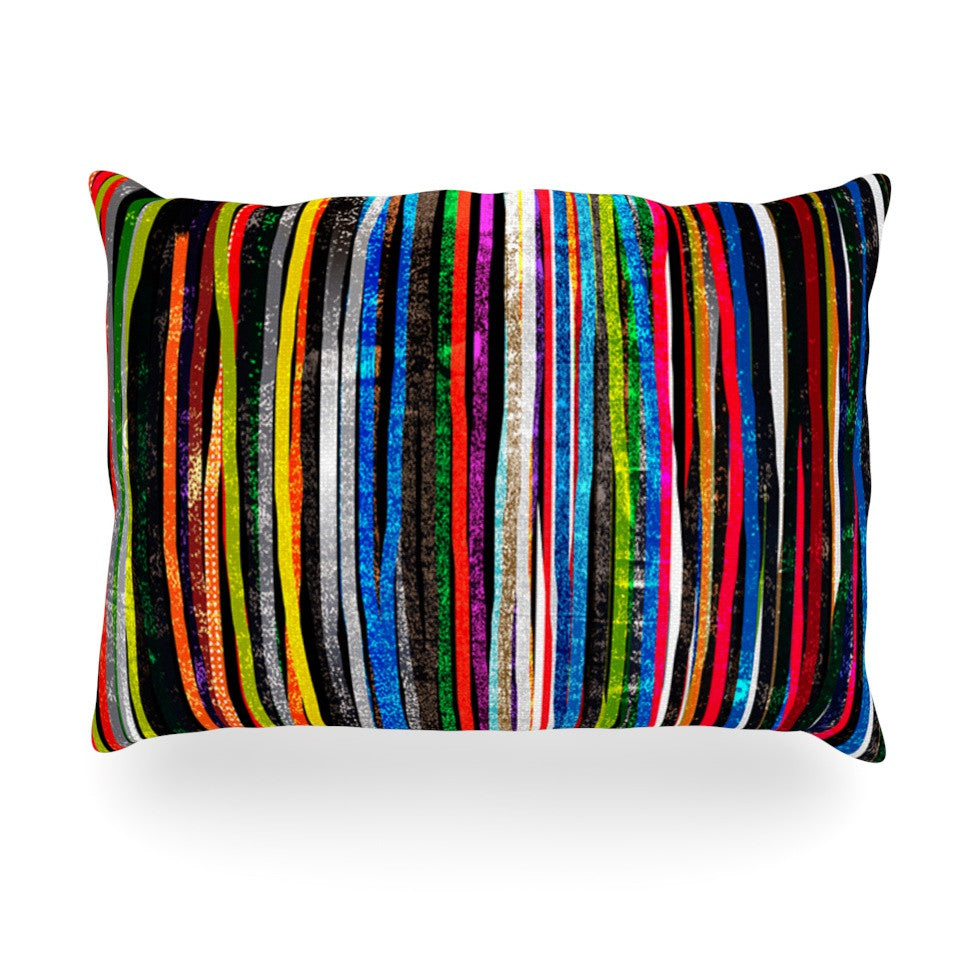 "Frederic Levy-Hadida ""Fancy Stripes Dark"" Oblong Pillow - KESS InHouse"
