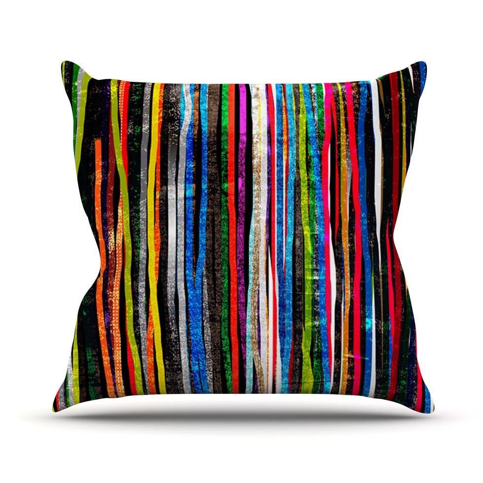 "Frederic Levy-Hadida ""Fancy Stripes Dark"" Outdoor Throw Pillow - KESS InHouse  - 1"