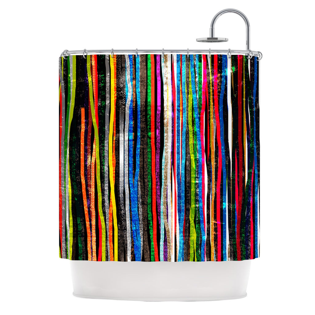 "Frederic Levy-Hadida ""Fancy Stripes Dark"" Shower Curtain - KESS InHouse"