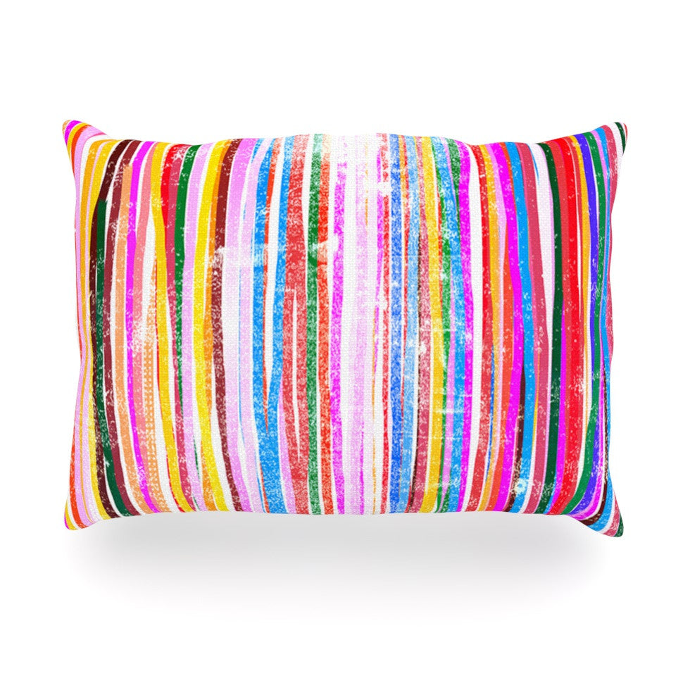 "Frederic Levy-Hadida ""Fancy Stripes Pastel"" Oblong Pillow - KESS InHouse"