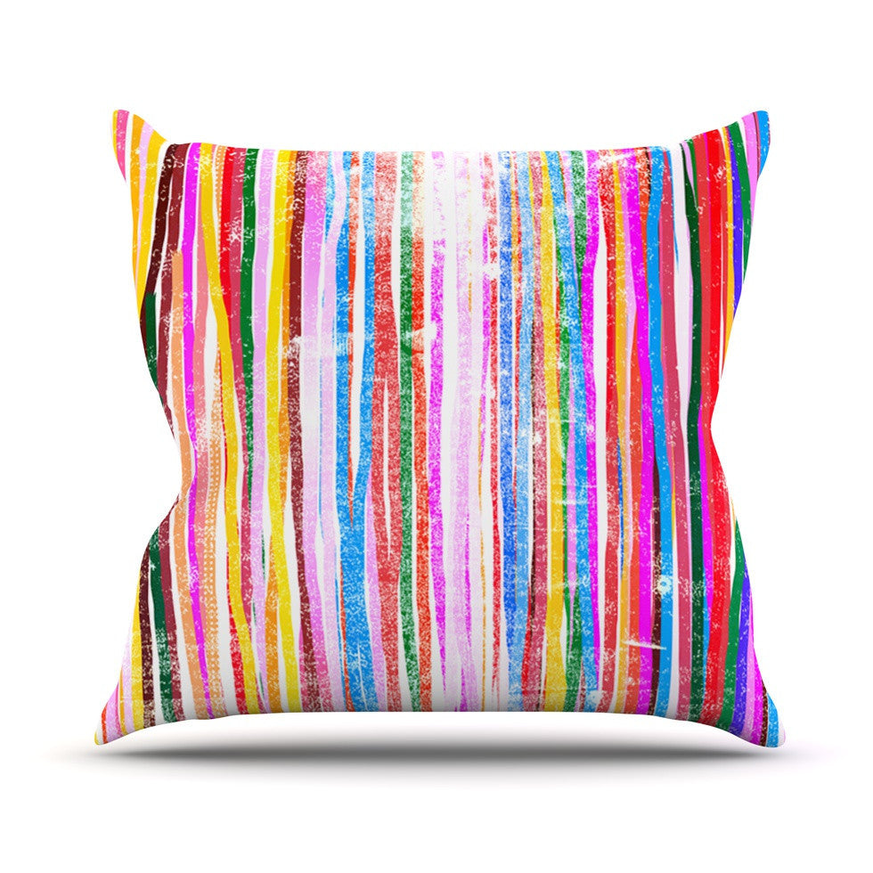 "Frederic Levy-Hadida ""Fancy Stripes Pastel"" Outdoor Throw Pillow - KESS InHouse  - 1"