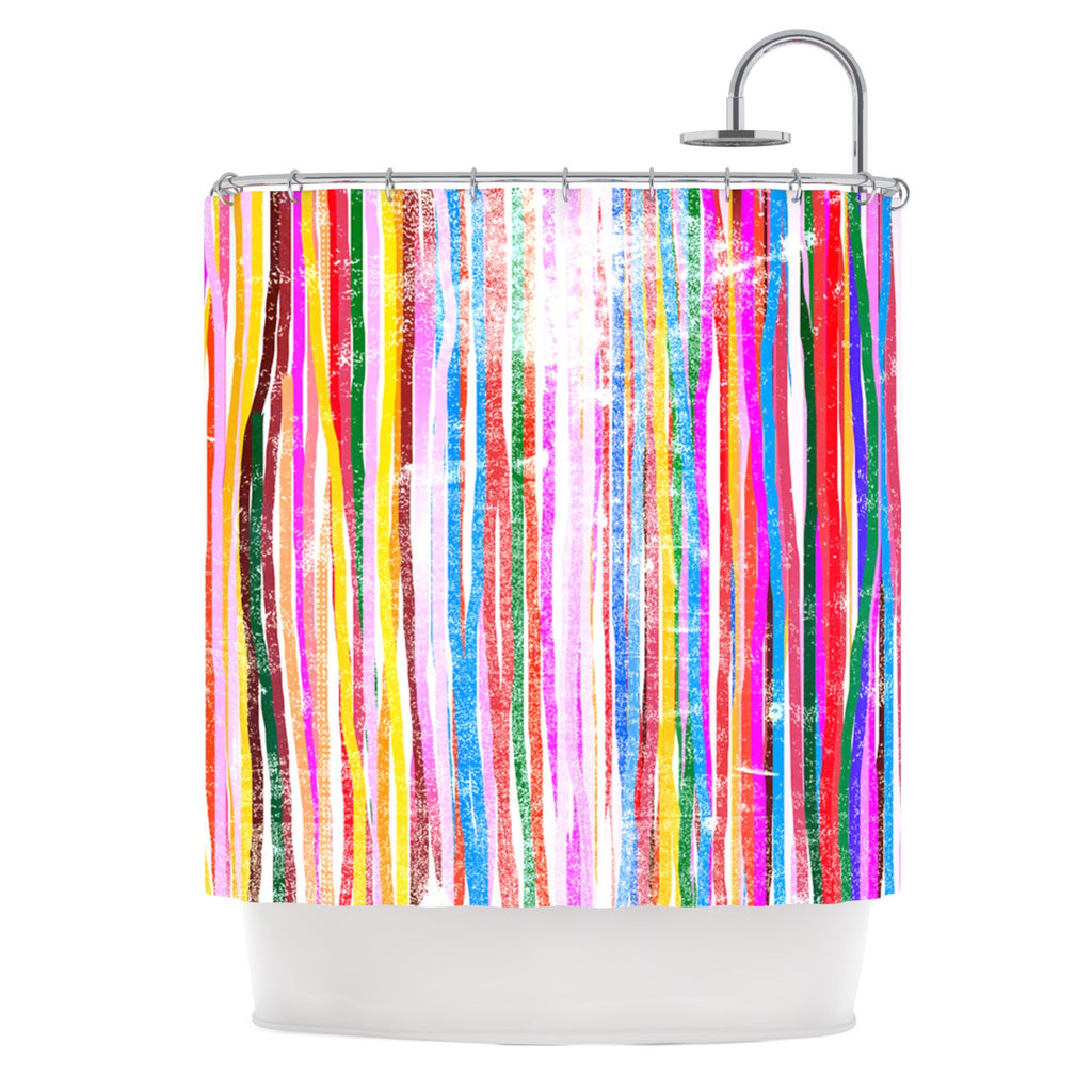 "Frederic Levy-Hadida ""Fancy Stripes Pastel"" Shower Curtain - KESS InHouse"