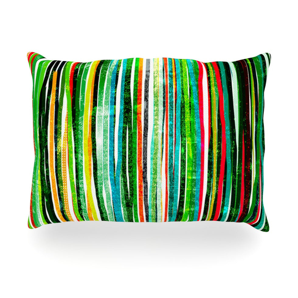 "Frederic Levy-Hadida ""Fancy Stripes Green"" Oblong Pillow - KESS InHouse"