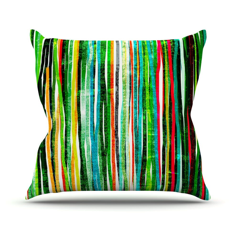 "Frederic Levy-Hadida ""Fancy Stripes Green"" Throw Pillow - KESS InHouse  - 1"