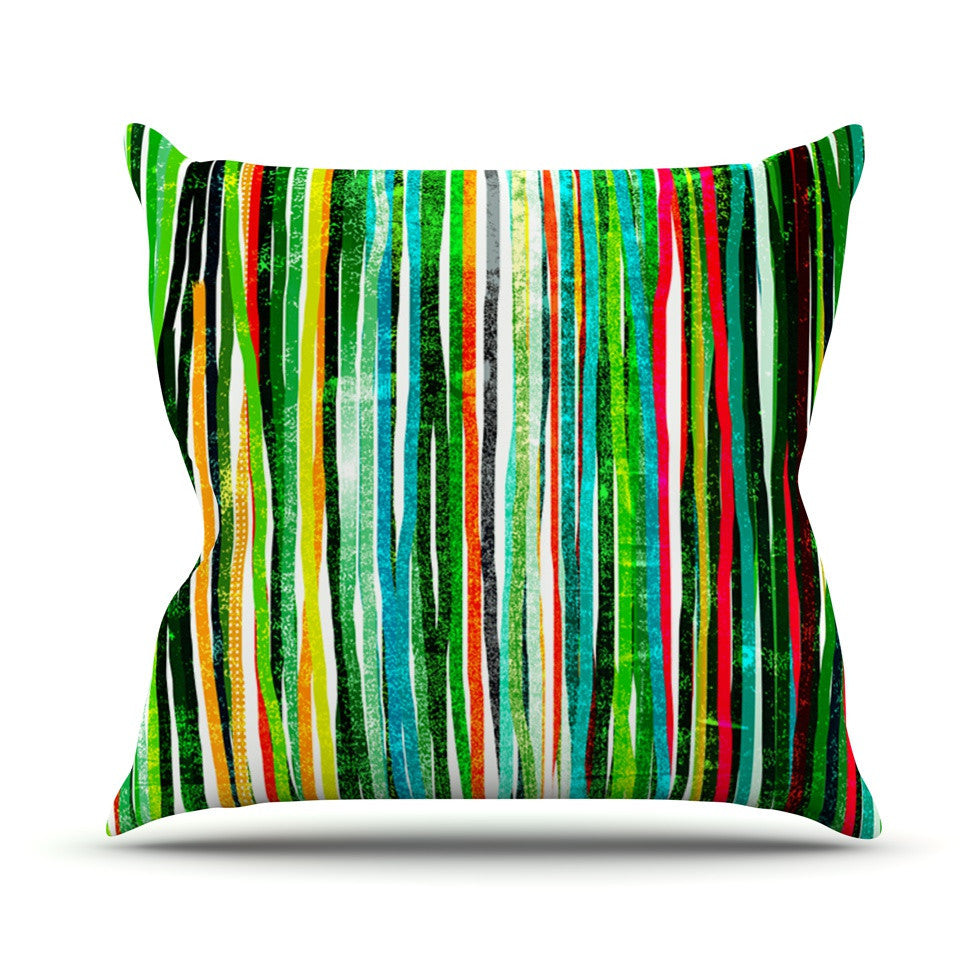 "Frederic Levy-Hadida ""Fancy Stripes Green"" Outdoor Throw Pillow - KESS InHouse  - 1"