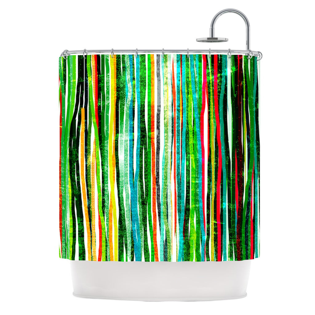 "Frederic Levy-Hadida ""Fancy Stripes Green"" Shower Curtain - KESS InHouse"