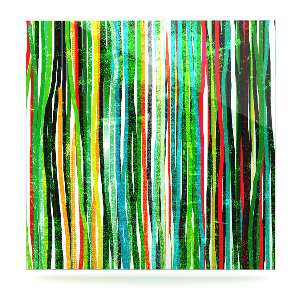"Frederic Levy-Hadida ""Fancy Stripes Green"" Luxe Square Panel - KESS InHouse  - 1"