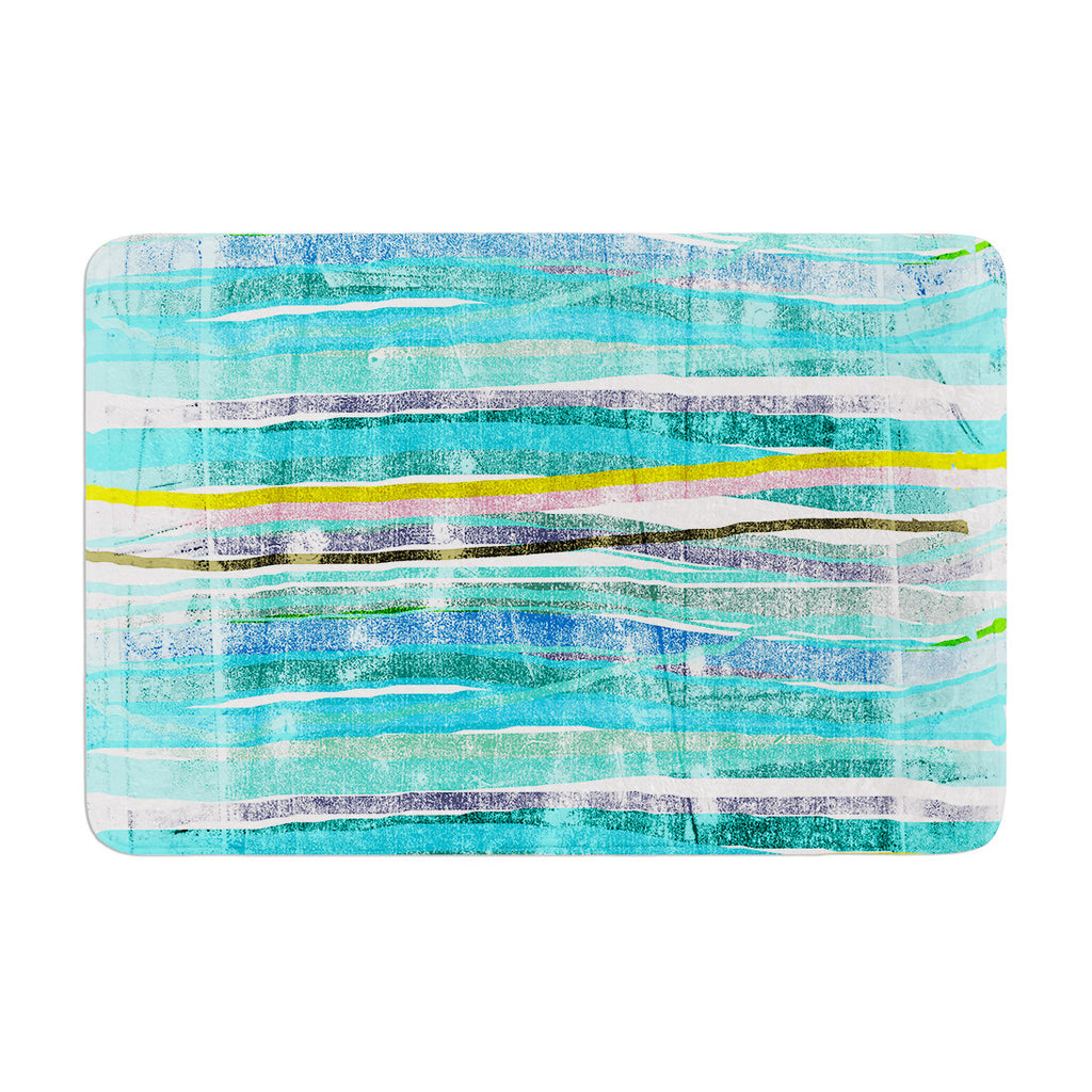 "Frederic Levy-Hadida ""Fancy Stripes Acqua"" Memory Foam Bath Mat - KESS InHouse"