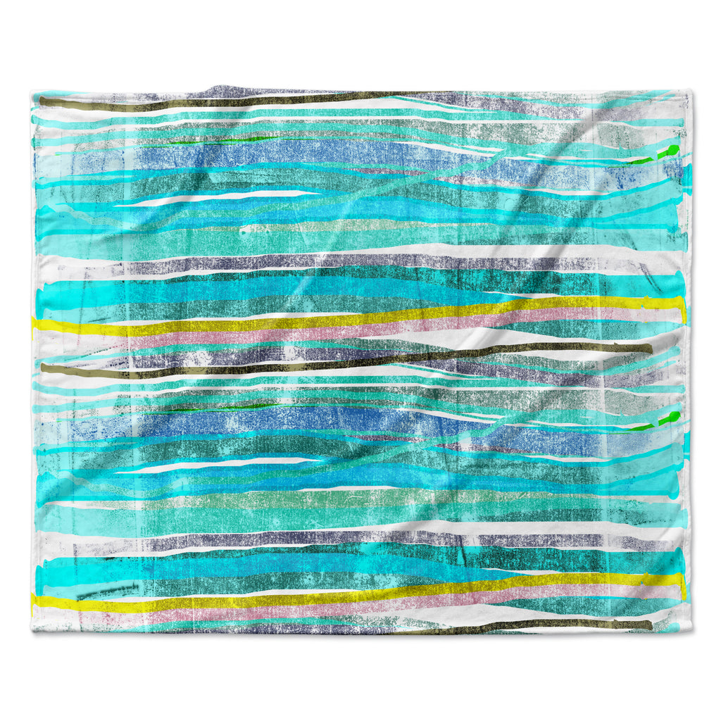 "Frederic Levy-Hadida ""Fancy Stripes Acqua"" Fleece Throw Blanket"