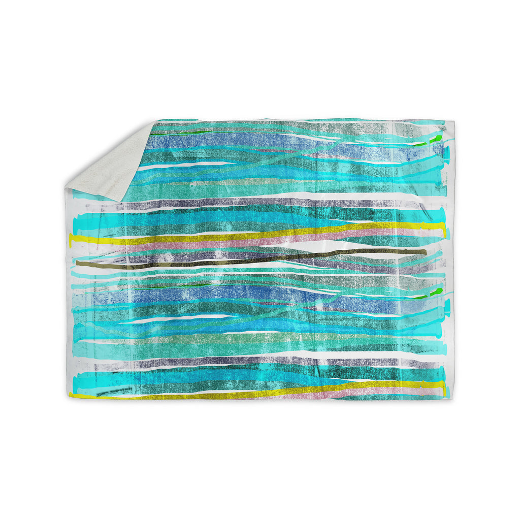 "Frederic Levy-Hadida ""Fancy Stripes Acqua"" Sherpa Blanket - KESS InHouse  - 1"