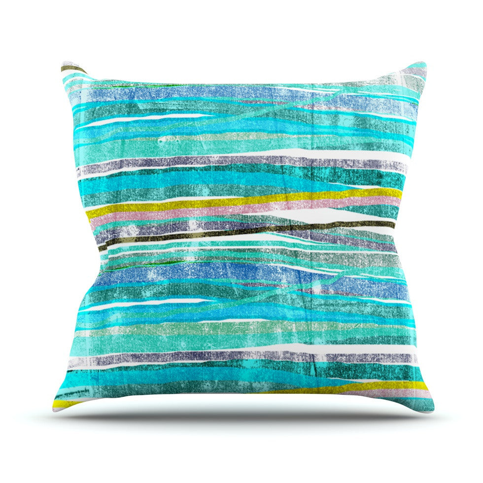 "Frederic Levy-Hadida ""Fancy Stripes Acqua"" Outdoor Throw Pillow - KESS InHouse  - 1"