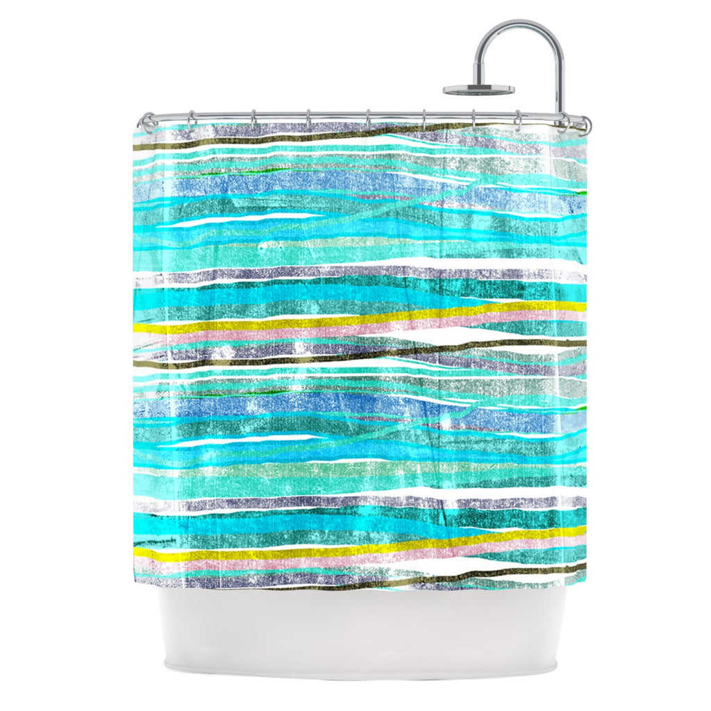 "Frederic Levy-Hadida ""Fancy Stripes Acqua"" Shower Curtain - KESS InHouse"