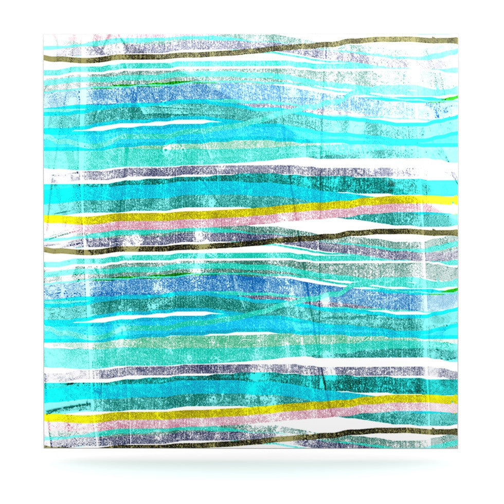 "Frederic Levy-Hadida ""Fancy Stripes Acqua"" Luxe Square Panel - KESS InHouse  - 1"