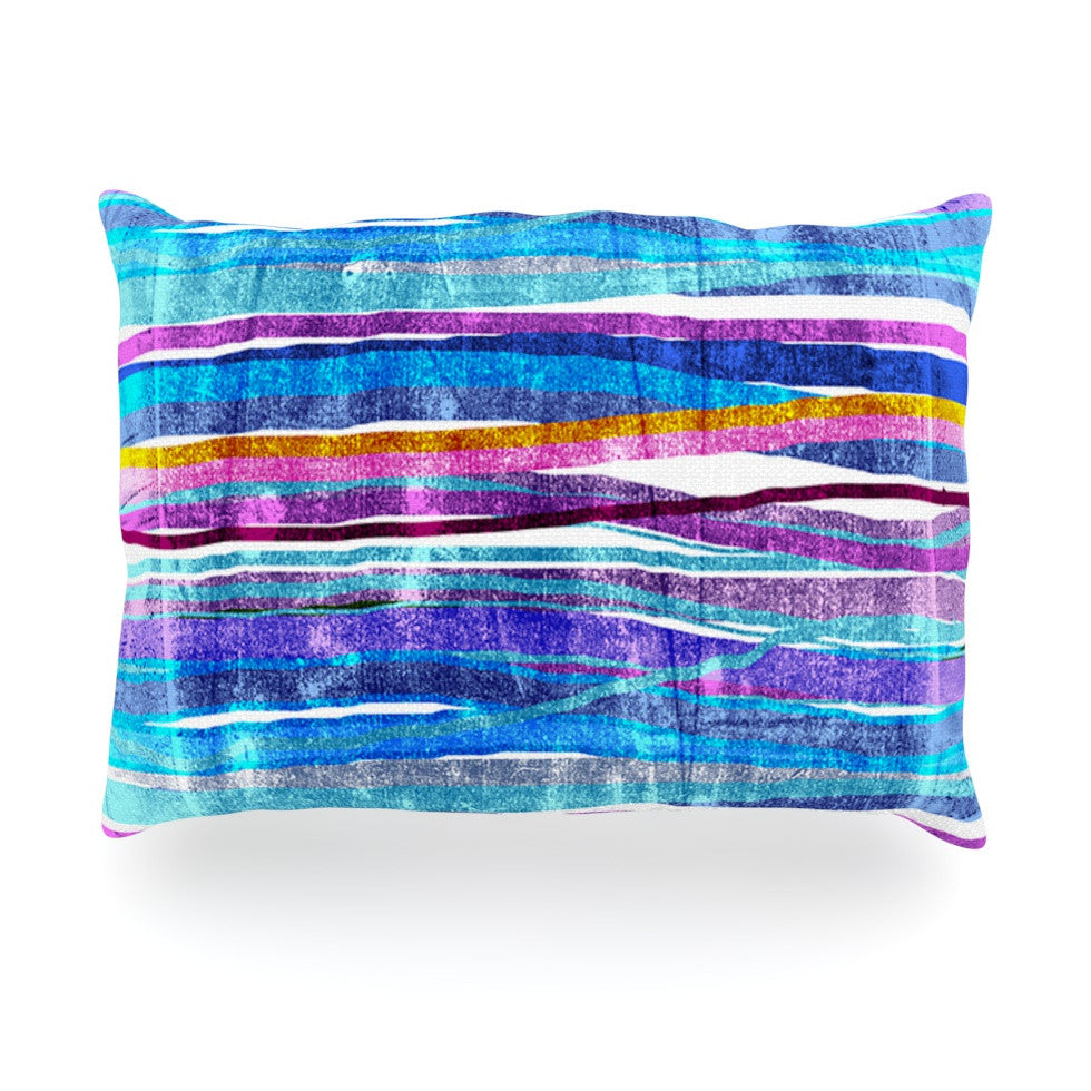 "Frederic Levy-Hadida ""Fancy Stripes Dark Blue"" Oblong Pillow - KESS InHouse"