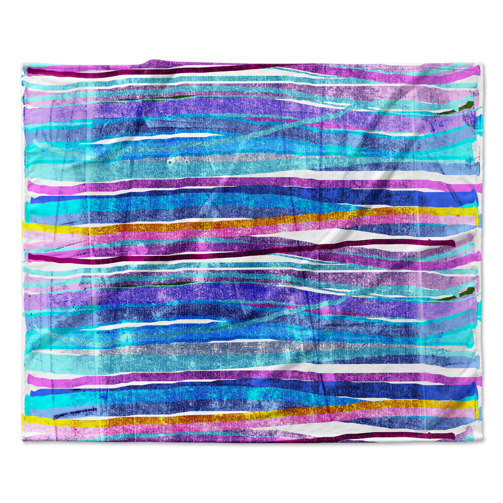 "Frederic Levy-Hadida ""Fancy Stripes Dark Blue"" Fleece Throw Blanket"