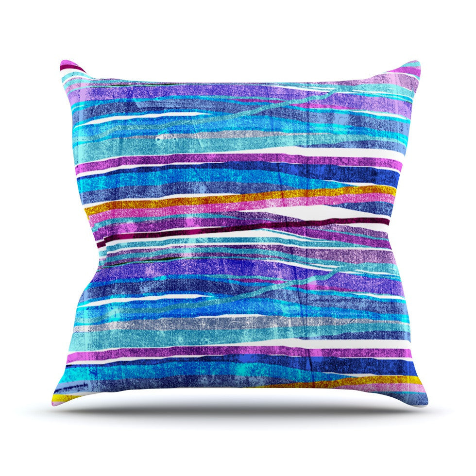 "Frederic Levy-Hadida ""Fancy Stripes Dark Blue"" Outdoor Throw Pillow - KESS InHouse  - 1"