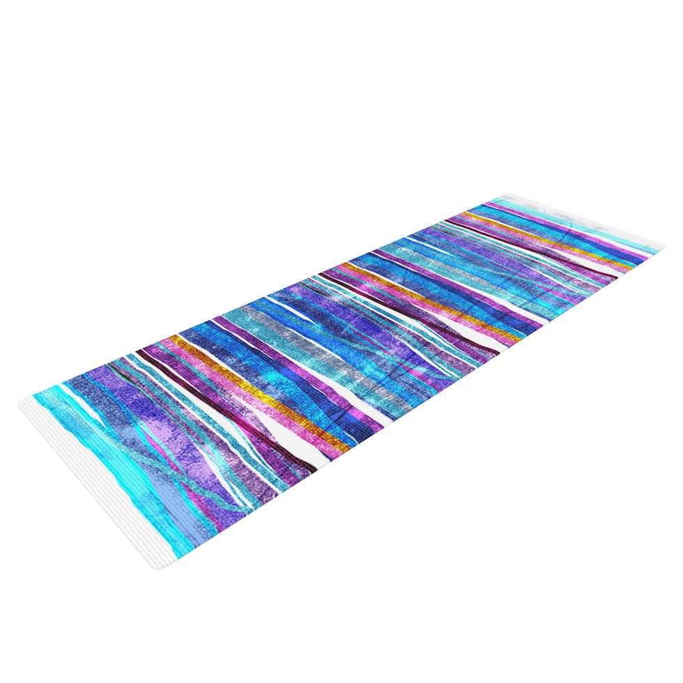 "Frederic Levy-Hadida ""Fancy Stripes Dark Blue"" Yoga Mat - KESS InHouse  - 1"