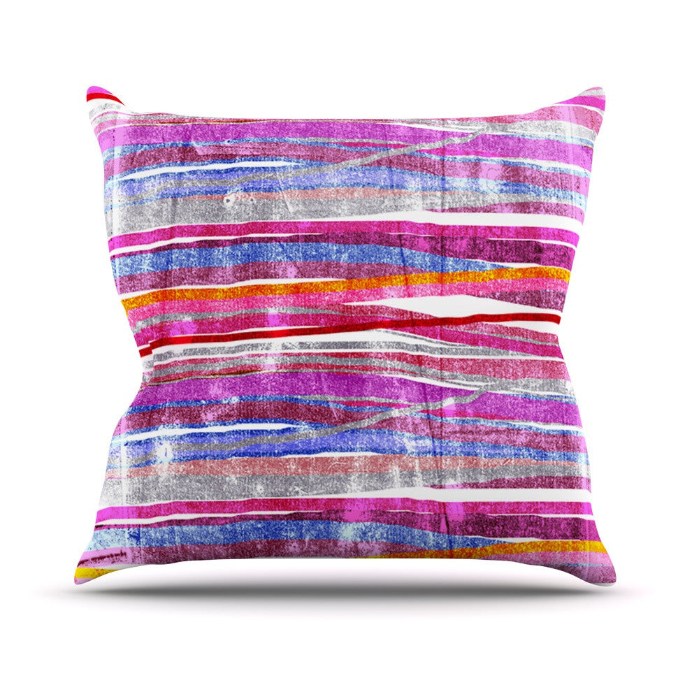"Frederic Levy-Hadida ""Fancy Stripes Pink"" Outdoor Throw Pillow - KESS InHouse  - 1"
