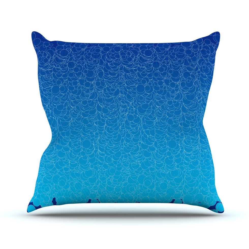 "Frederic Levy-Hadida ""Bubbling Blue"" Throw Pillow - KESS InHouse  - 1"