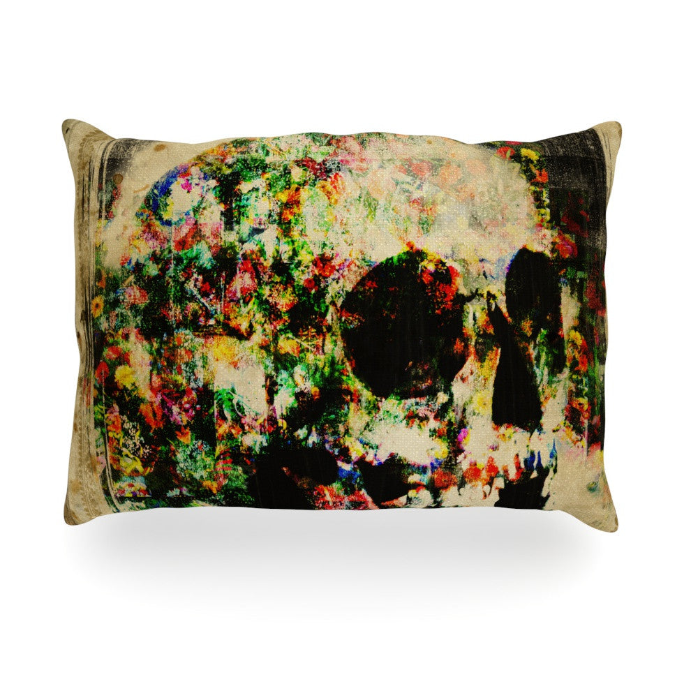 "Frederic Levy-Hadida ""Floral Skully"" Oblong Pillow - KESS InHouse"