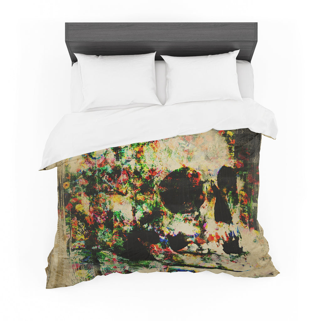 "Frederic Levy-Hadida ""Floral Skully"" Featherweight Duvet Cover"