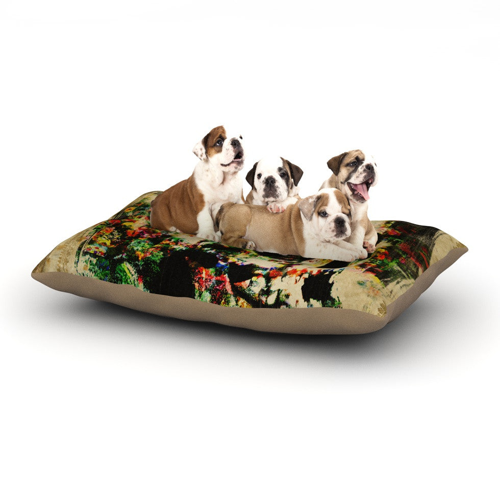 "Frederic Levy-Hadida ""Floral Skully"" Dog Bed - KESS InHouse  - 1"