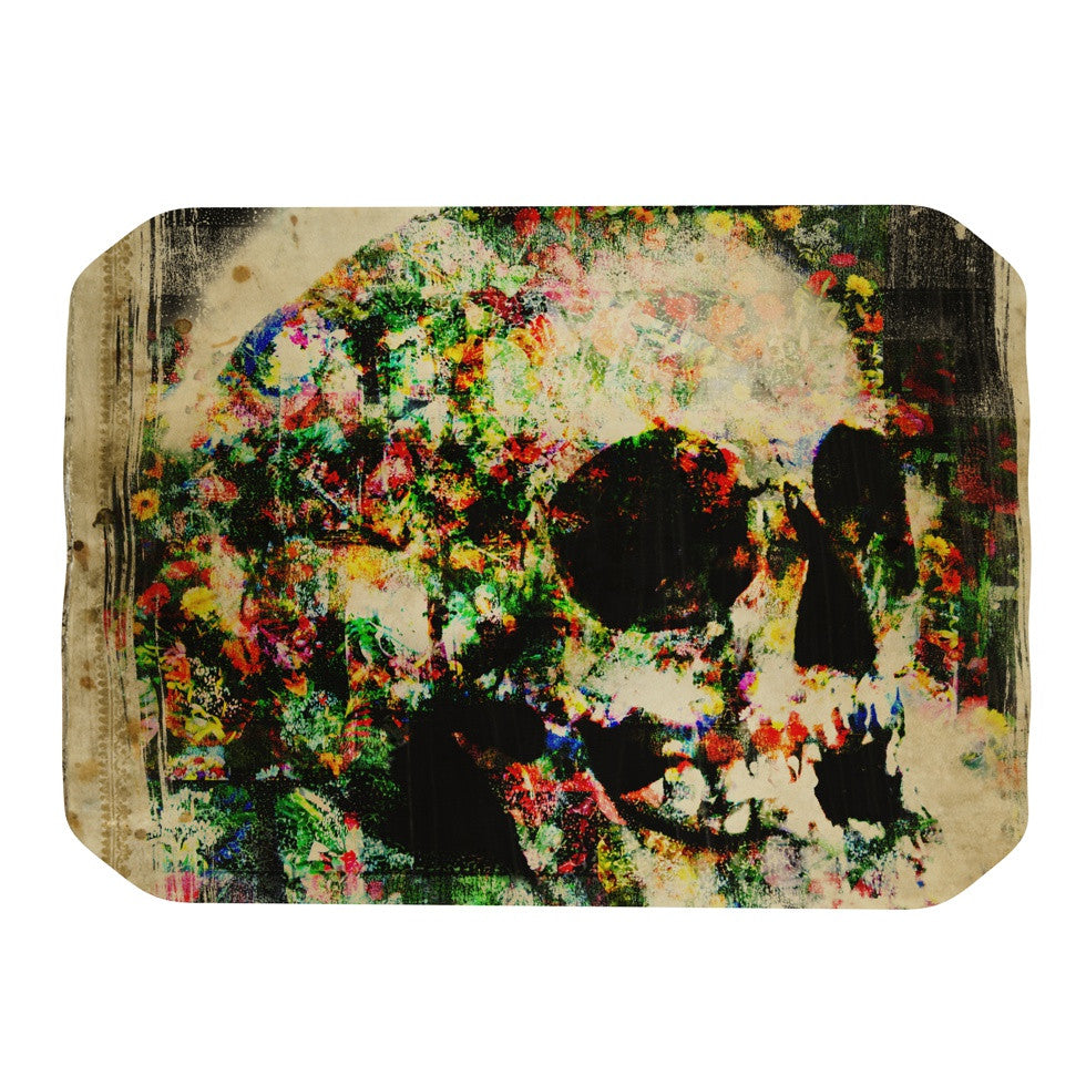 "Frederic Levy-Hadida ""Floral Skully"" Place Mat - KESS InHouse"