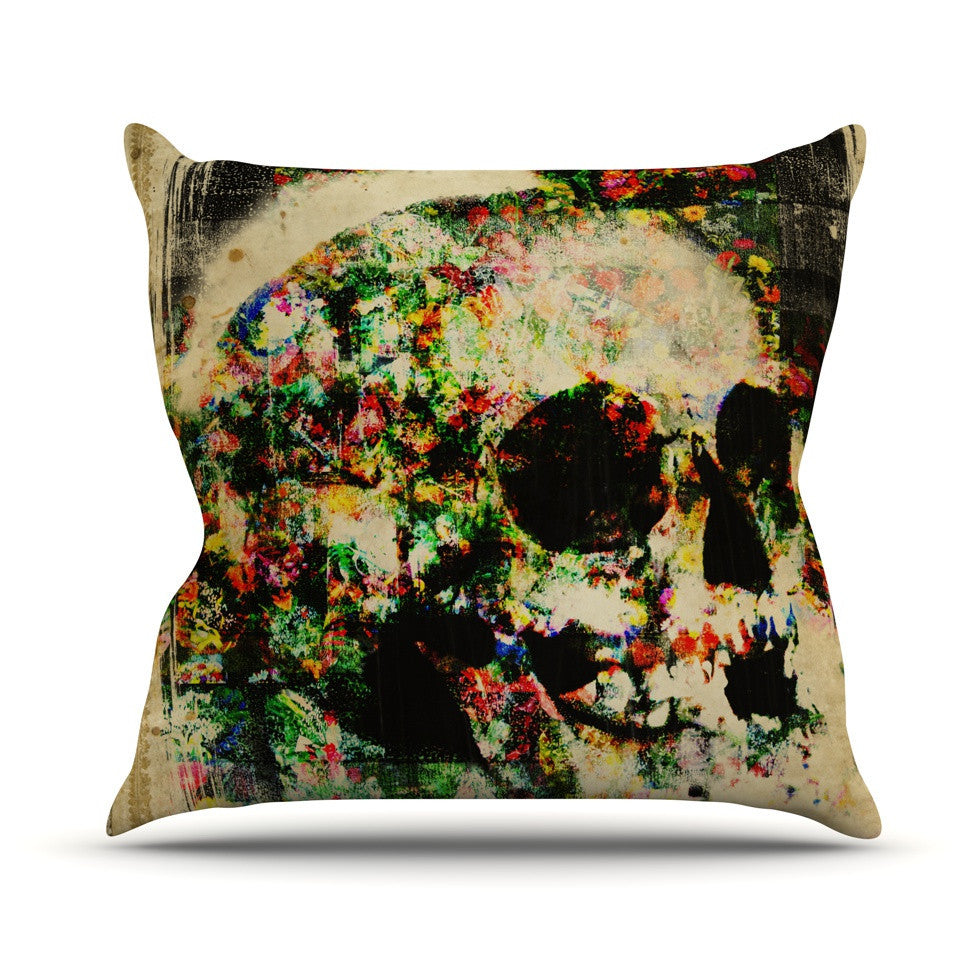 "Frederic Levy-Hadida ""Floral Skully"" Outdoor Throw Pillow - KESS InHouse  - 1"