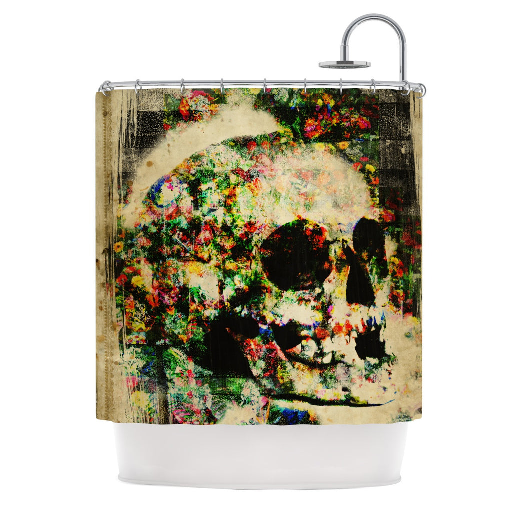 "Frederic Levy-Hadida ""Floral Skully"" Shower Curtain - KESS InHouse"