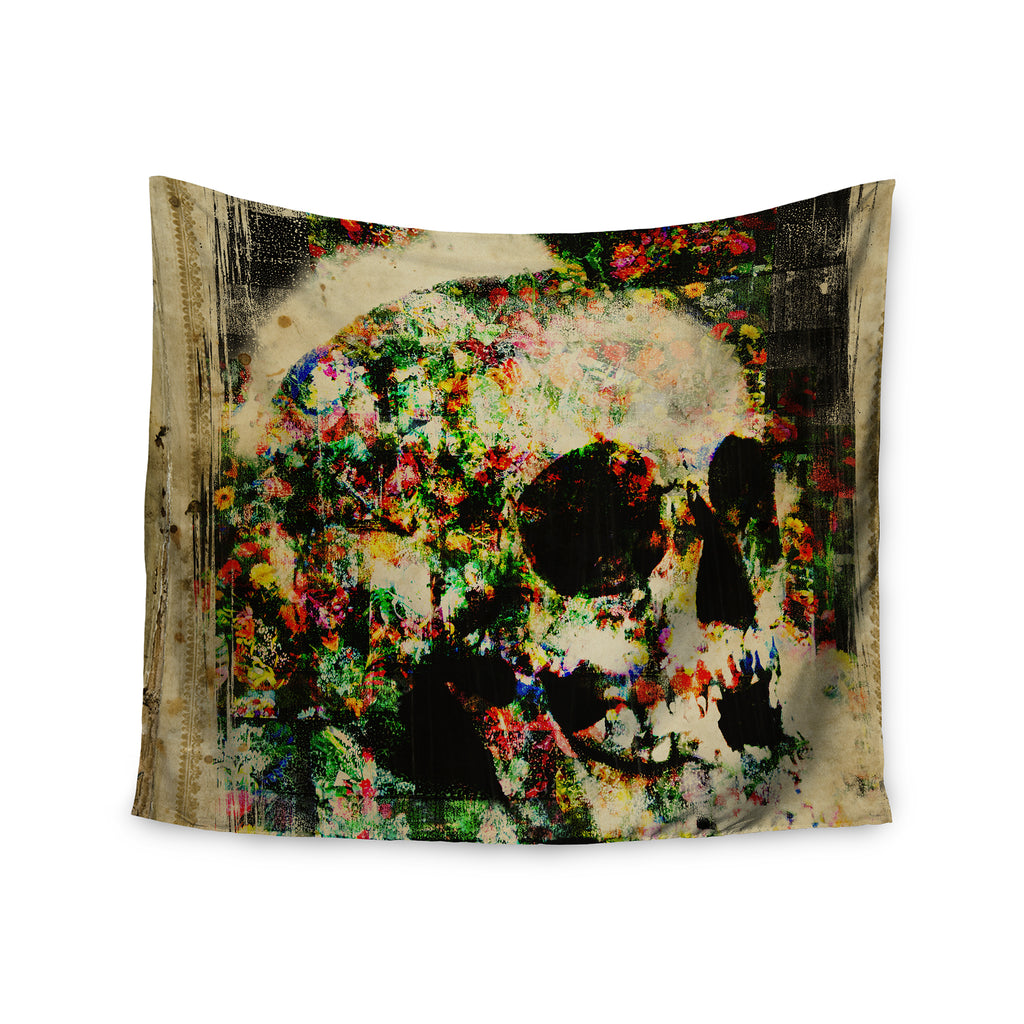 "Frederic Levy-Hadida ""Floral Skully"" Wall Tapestry - Outlet Item"