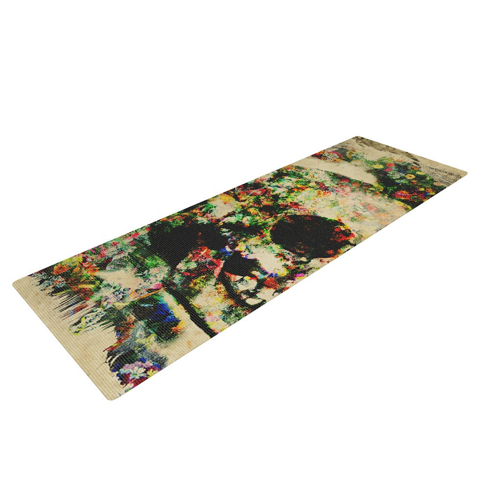 "Frederic Levy-Hadida ""Floral Skully"" Yoga Mat - KESS InHouse  - 1"