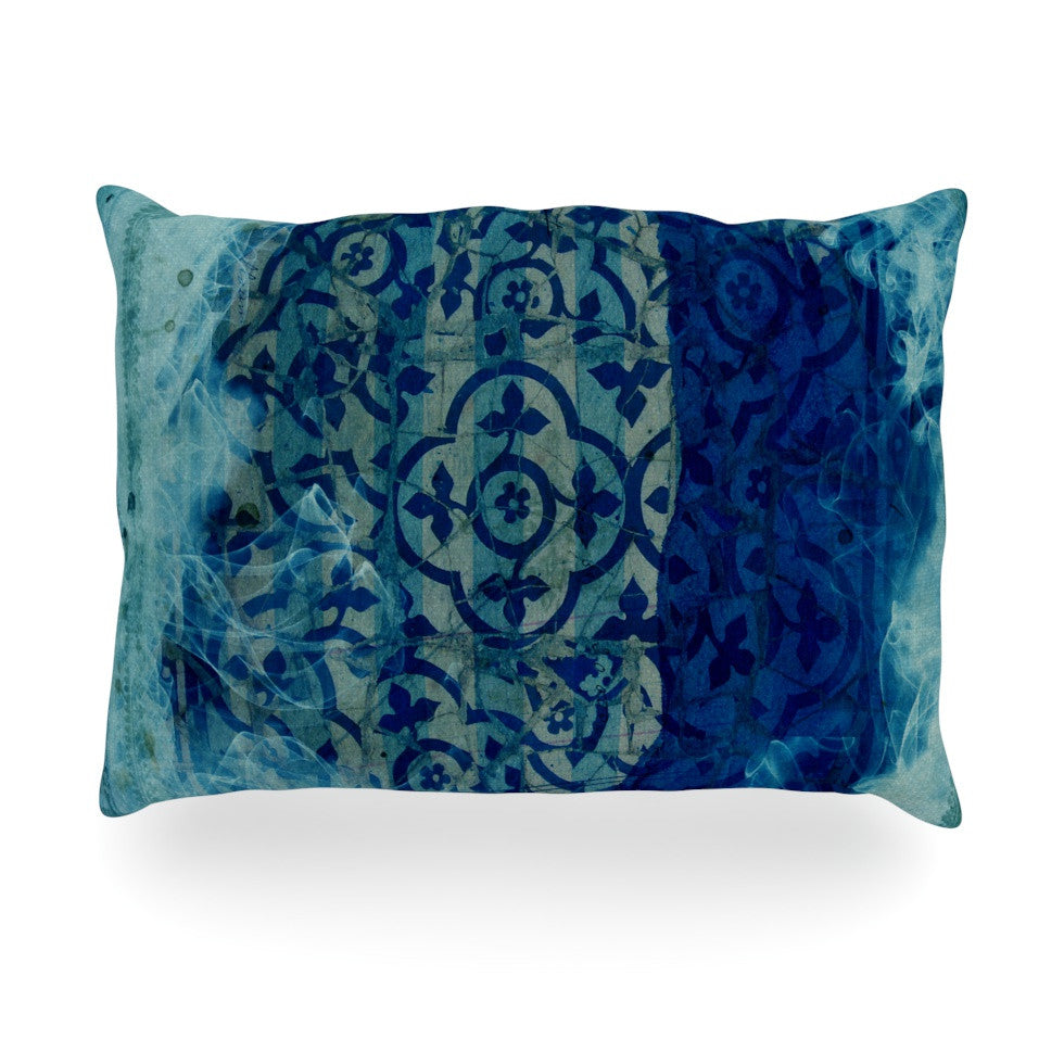 "Frederic Levy-Hadida ""Mosaic in Cyan"" Oblong Pillow - KESS InHouse"