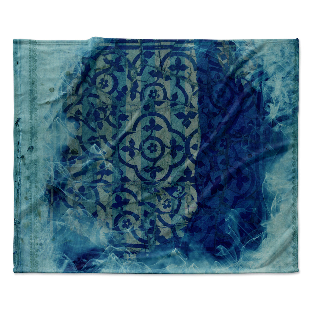 "Frederic Levy-Hadida ""Mosaic in Cyan"" Fleece Throw Blanket"