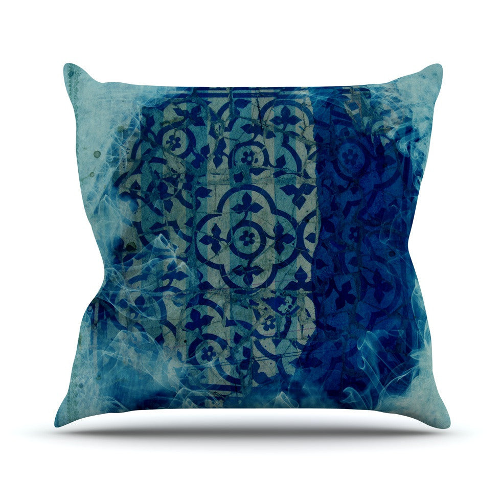 "Frederic Levy-Hadida ""Mosaic in Cyan"" Outdoor Throw Pillow - KESS InHouse  - 1"