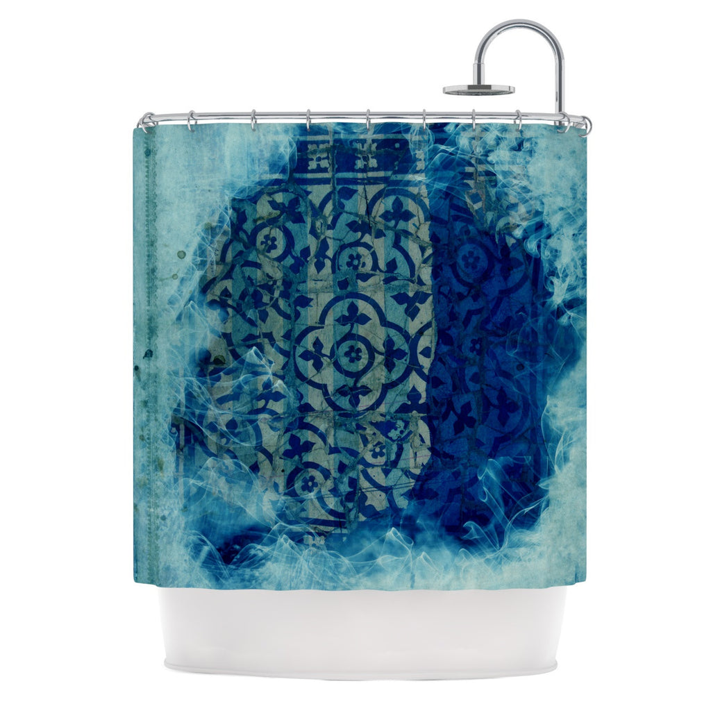 "Frederic Levy-Hadida ""Mosaic in Cyan"" Shower Curtain - KESS InHouse"