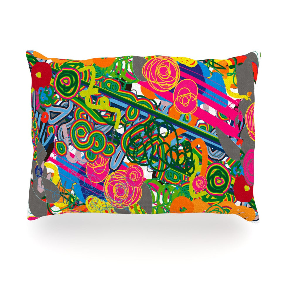 "Frederic Levy-Hadida ""Psychedelic Garden"" Oblong Pillow - KESS InHouse"