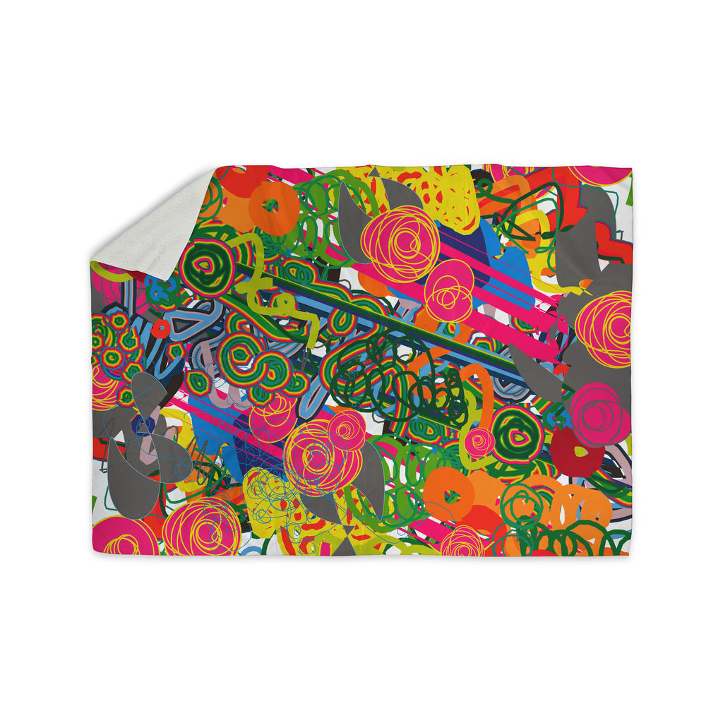 "Frederic Levy-Hadida ""Psychedelic Garden"" Sherpa Blanket - KESS InHouse  - 1"