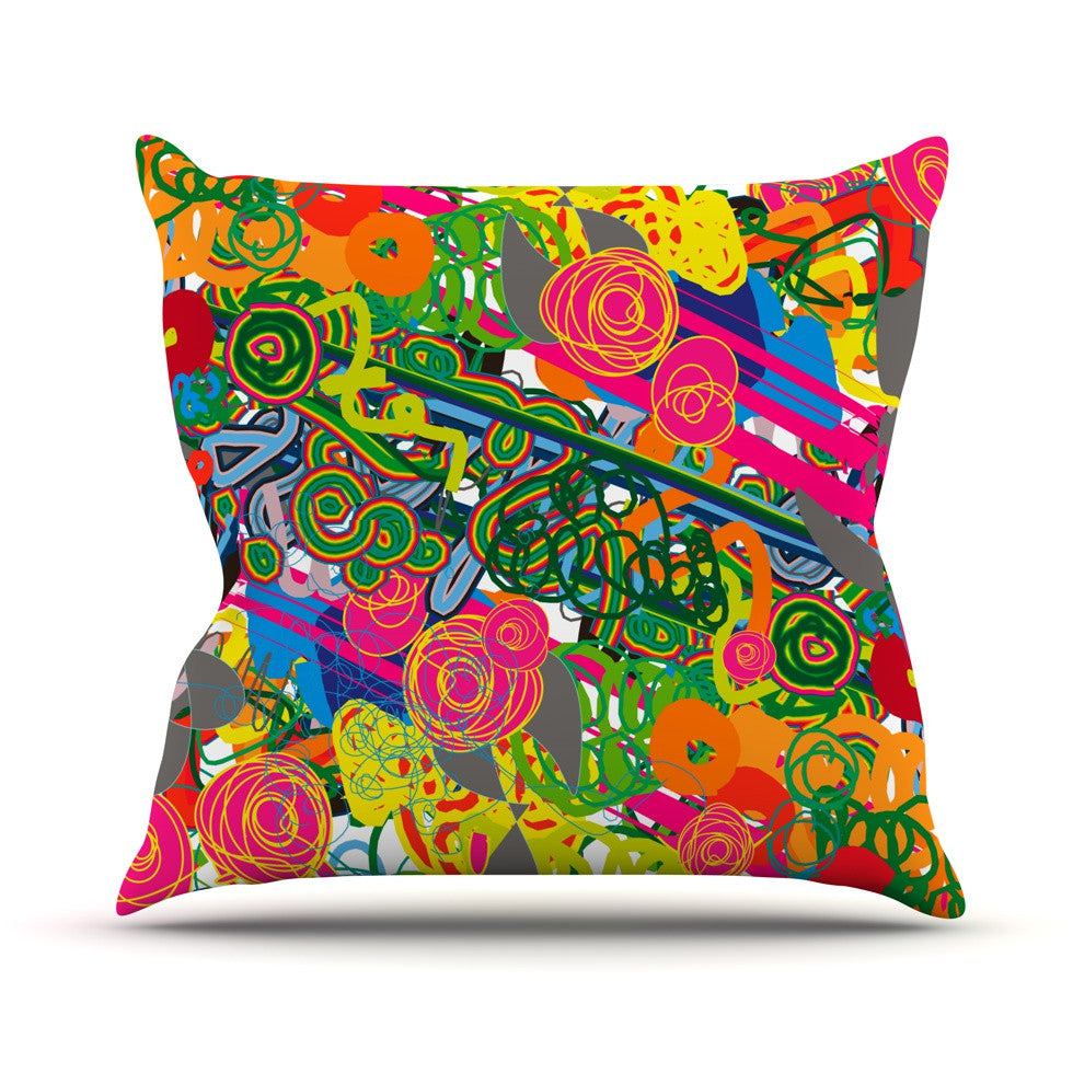 "Frederic Levy-Hadida ""Psychedelic Garden"" Throw Pillow - KESS InHouse  - 1"
