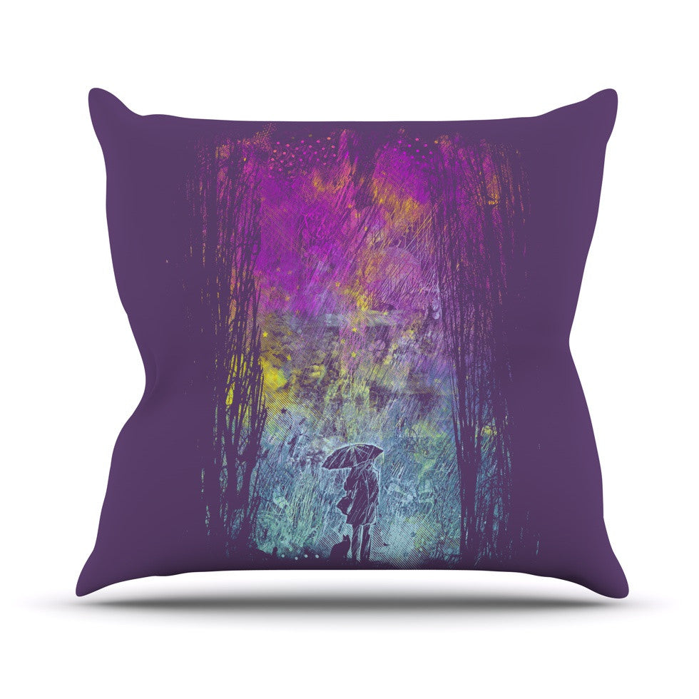 "Frederic Levy-Hadida ""Purple Rain"" Throw Pillow - KESS InHouse  - 1"