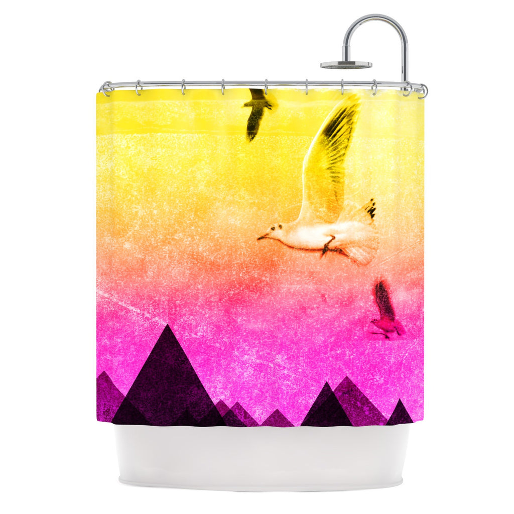 "Frederic Levy-Hadida ""Seagulls in Shiny Sky"" Shower Curtain - KESS InHouse"