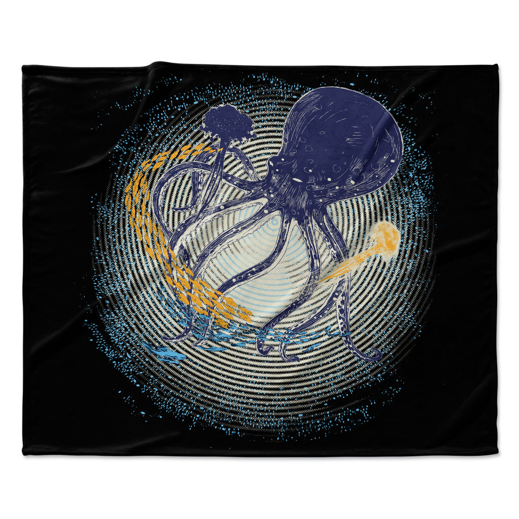 "Frederic Levy-Hadida ""Tentacular Trap"" Octopus Fleece Throw Blanket"